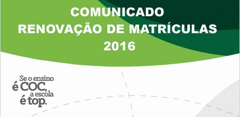 RENOVAÇÃO DE MATRÍCULAS 2016