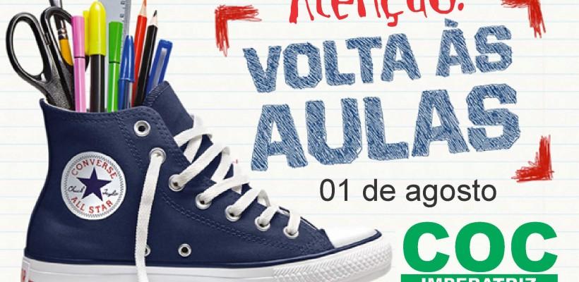 ATENÇÃO ALUNOS! VOLTA ÀS AULAS DIA 01 DE AGOSTO