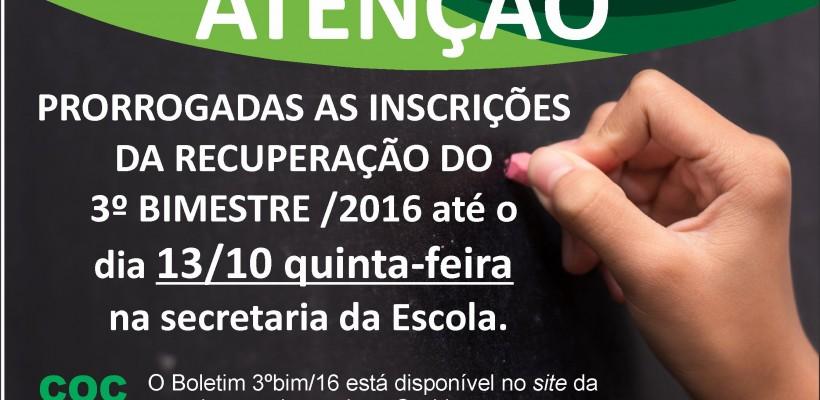 COMUNICADO RECUPERAÇÃO 3º BIMESTRE/2016